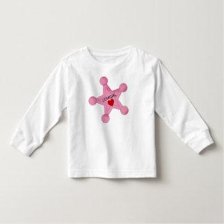 かわいい女性のカーボーイのバッジのTシャツ トドラーTシャツ