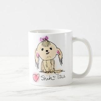 かわいい女性のシーズー(犬)のTzuの落書きのスケッチ コーヒーマグカップ