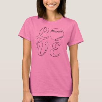 かわいい女性のソフトボール愛Tシャツ Tシャツ