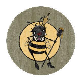 かわいい女王バチの円形のガラスまな板 カッティングボード