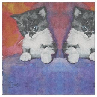 かわいい子ネコの生地 ファブリック