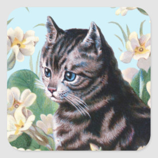 かわいい子ネコ-ヴィンテージ猫の芸術 スクエアシール