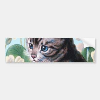 かわいい子ネコ-ヴィンテージ猫の芸術 バンパーステッカー