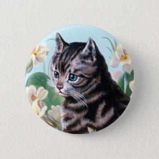 かわいい子ネコ-ヴィンテージ猫の芸術 5.7CM 丸型バッジ