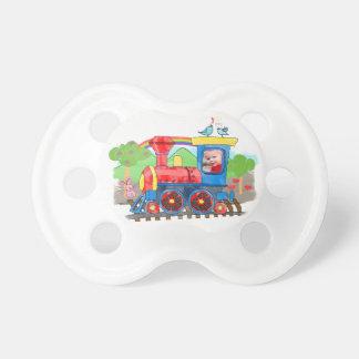 かわいい子供のテンプレートの写真の多彩な蒸気の列車 おしゃぶり