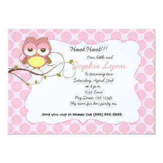 かわいい子供部屋のフクロウの誕生日/ベビーシャワーの招待 12.7 X 17.8 インビテーションカード