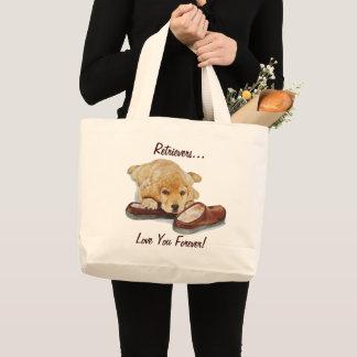 かわいい子犬のゴールデン・リトリーバーの抱きしめるスリッパ ラージトートバッグ