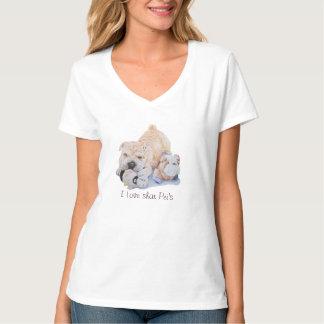 かわいい子犬のテディのおもしろいのスローガンを用いるshar peiのポートレート tシャツ