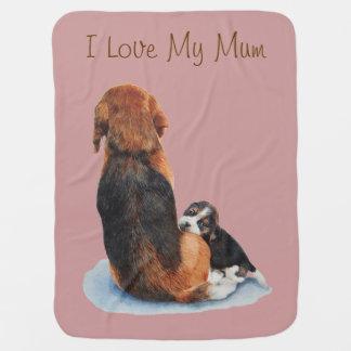 かわいい子犬のビーグル犬の抱きしめるミイラの現実主義者の芸術犬 ベビー ブランケット