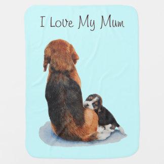 かわいい子犬のビーグル犬の抱きしめるミイラ犬の現実主義者の芸術 ベビー ブランケット