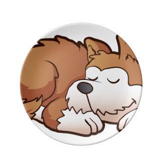 かわいい子犬の漫画の睡眠 磁器プレート