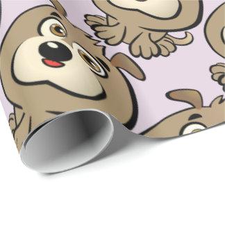 かわいい子犬の漫画 ラッピングペーパー