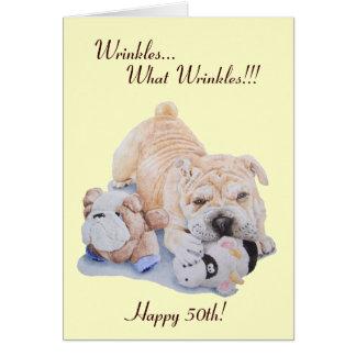 かわいい子犬のshar peiの犬およびテディのおもしろいな第50 カード