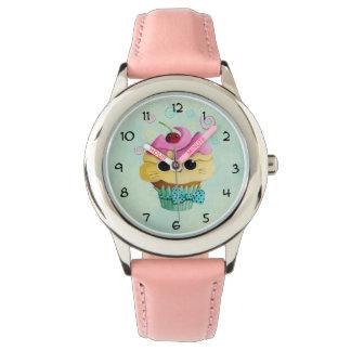 かわいい子猫のカップケーキ 腕時計