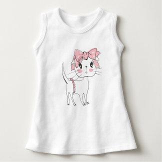 かわいい子猫のプリントが付いているベビーの袖なしの服 ドレス