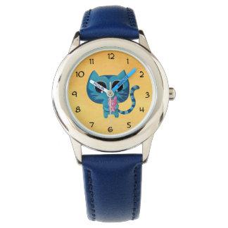 かわいい子猫の猫およびブタ 腕時計