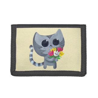 かわいい子猫の猫および花 ナイロン三つ折りウォレット