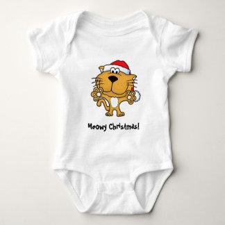 かわいい子猫はMeowyのクリスマスを望みます! ベビーボディスーツ