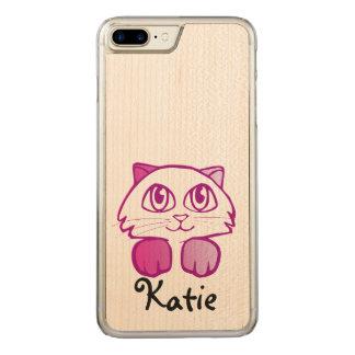 かわいい子猫猫のカスタマイズ可能な一流のiPhone 7の場合 Carved iPhone 8 Plus/7 Plus ケース
