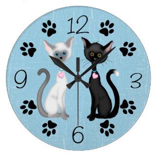 かわいい子猫猫の柱時計 ラージ壁時計