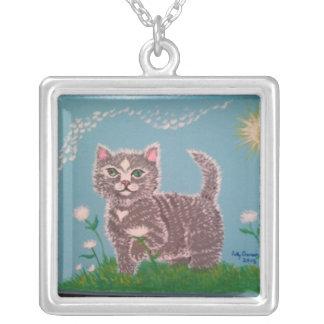 かわいい子猫 シルバープレートネックレス