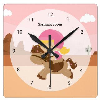 かわいい子馬 スクエア壁時計