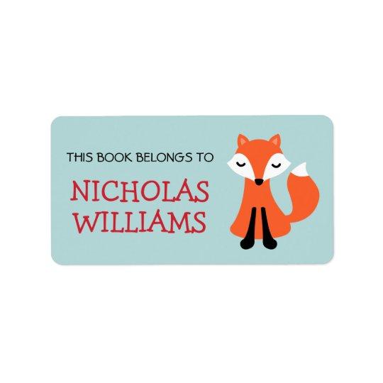 かわいい孤の漫画の動物の蔵書票の本 宛名ラベル