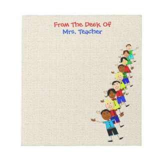 かわいい学校は先生のメモ帳のためのイラストレーションをからかいます ノートパッド