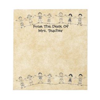 かわいい学校は先生のメモ帳をからかいます ノートパッド