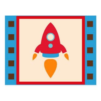 かわいい宇宙飛行船のロケットの宇宙の赤い青 ポストカード