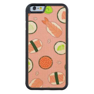 かわいい寿司パターンピンク CarvedメープルiPhone 6バンパーケース