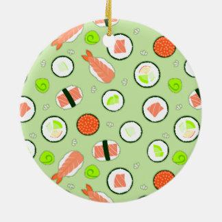 かわいい寿司パターン緑 セラミックオーナメント