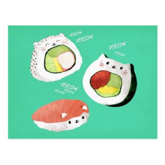 かわいい寿司猫 ポストカード