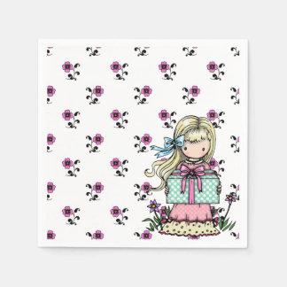 かわいい小さな女の子の誕生会のピンクの花 スタンダードカクテルナプキン