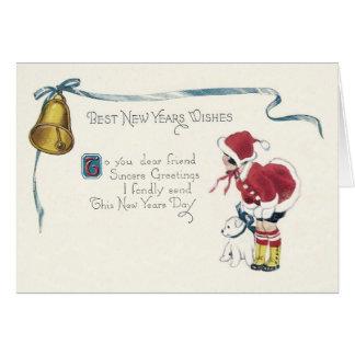 かわいい小さな女の子犬鐘 カード