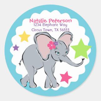 かわいい小さな女の子象の星の宛名ラベル ラウンドシール