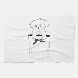 かわいい小型の小犬 キッチンタオル