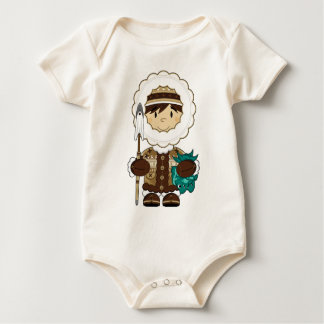 かわいい小型イヌイット族の漁師のエプロン ベビーボディスーツ