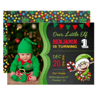 かわいい小妖精や小人の初めてのクリスマスの誕生日のパーティの招待状 12.7 X 17.8 インビテーションカード