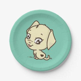 かわいい小犬の絵 ペーパープレート