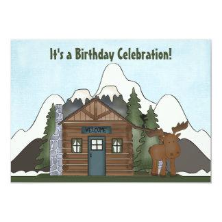 かわいい山の小屋およびアメリカヘラジカの誕生日の招待 カード