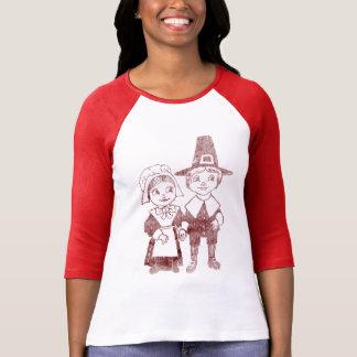 かわいい巡礼者のカップルの感謝祭のワイシャツ Tシャツ