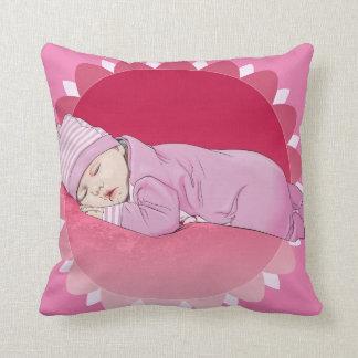 かわいい幼児女の赤ちゃんの絵の枕誕生 クッション