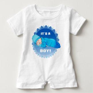 かわいい幼児男の赤ちゃんの絵のボディスーツ ベビーロンパース