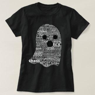 かわいい幽霊のタイポグラフィのティー Tシャツ