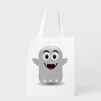 かわいい幽霊のハロウィンの再使用可能なトリックまたは御馳走バッグ エコバッグ