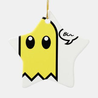 かわいい幽霊の黄色の気味悪いブーイング セラミックオーナメント