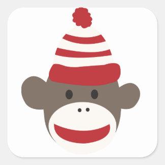 かわいい微笑のソックス猿の顔のステッカー スクエアシール