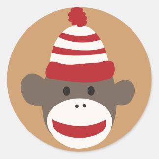 かわいい微笑のソックス猿の顔のステッカー ラウンドシール