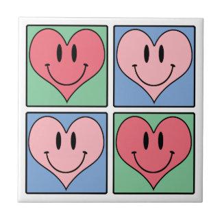 かわいい微笑のバレンタインのハート、私は愛します タイル
